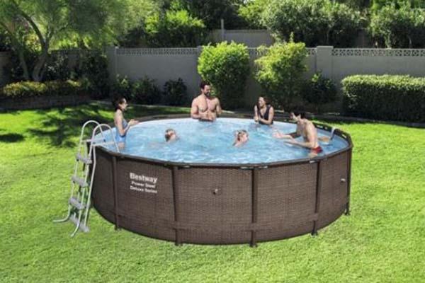 piscine tubulaire bestway power steel deluxe ronde. Black Bedroom Furniture Sets. Home Design Ideas