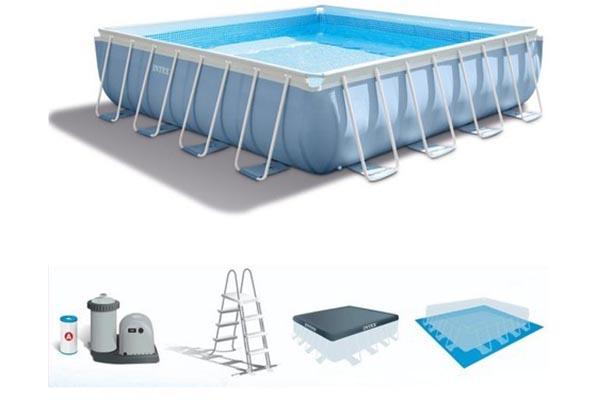 Piscine Tubulaire Intex Prism Frame Carrée Conseilpiscinefr - Carrelage piscine et tapis de sport épais