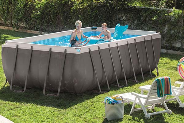 piscine tubulaire Intex Ultra Silver rectangulaire
