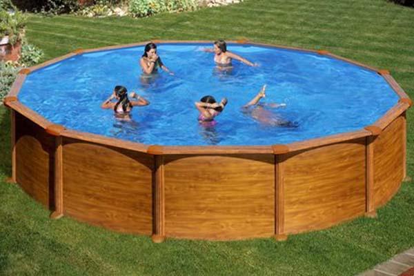 piscine acier aspect bois Gré Mauritius