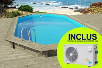 piscine bois HabitatetJardin Florida avec pompe à chaleur