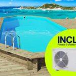 Piscine bois HabitatetJardin Ibiza avec pompe à chaleur